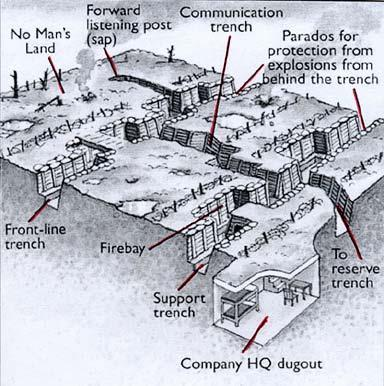 Trench warfare Armies had dug a network of trenches (deep protective ditches) along the Western Front in which