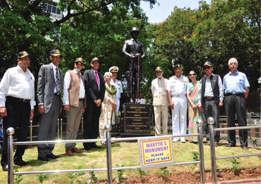 In Picture above Rear Admiral S Mahindru, Rear Admiral R Bhatia (Retd),Cdr Vijay Vadhera (Retd), Committee Members of Navy Foundation,Mumbai Chapter, Mrs and Lt S Bhende (Retd) society, to evoke