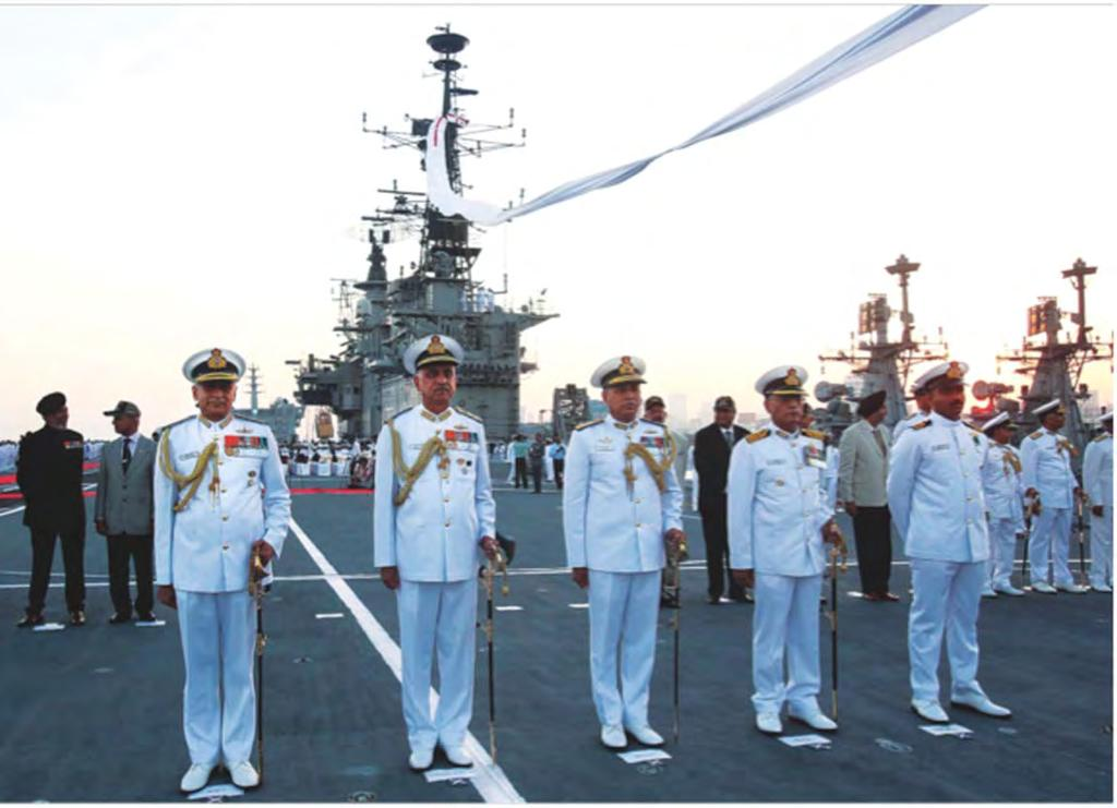 Admiral Sunil Lanba, Chief of the Naval Staff, with Vice Admiral Girish Luthra, Flag Officer Commanding-in-Chief Western Naval Command and Rear Admiral RB Pandit, Flag Officer Commanding Western