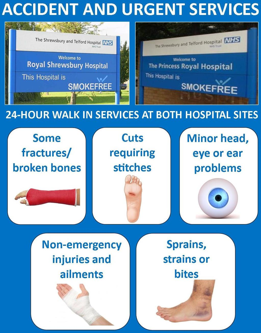 Care at your local hospital: Accident and Urgent Care Services New Accident and Urgent (A&U) Care Centres in Shropshire would be open 24-hours-a-day, sevendays-a-week and be available to treat the