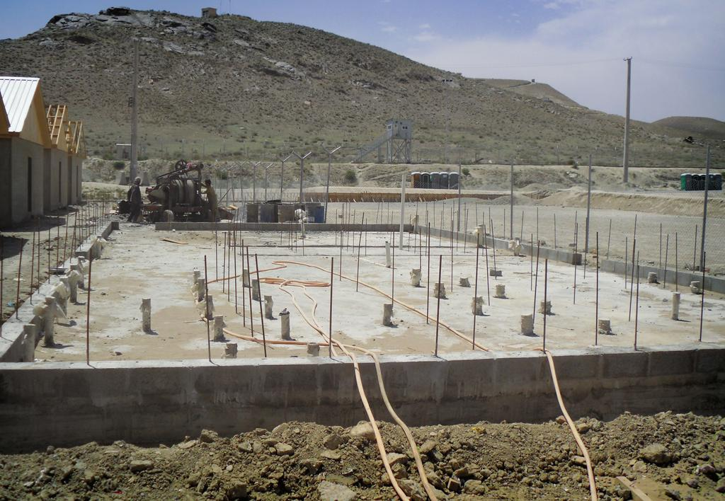 The foundation for a b-hut under construction at Kabul Military Training Center. ANA to take charge of its roles and responsibilities while looking out for the welfare of its soldiers. Using U.S.