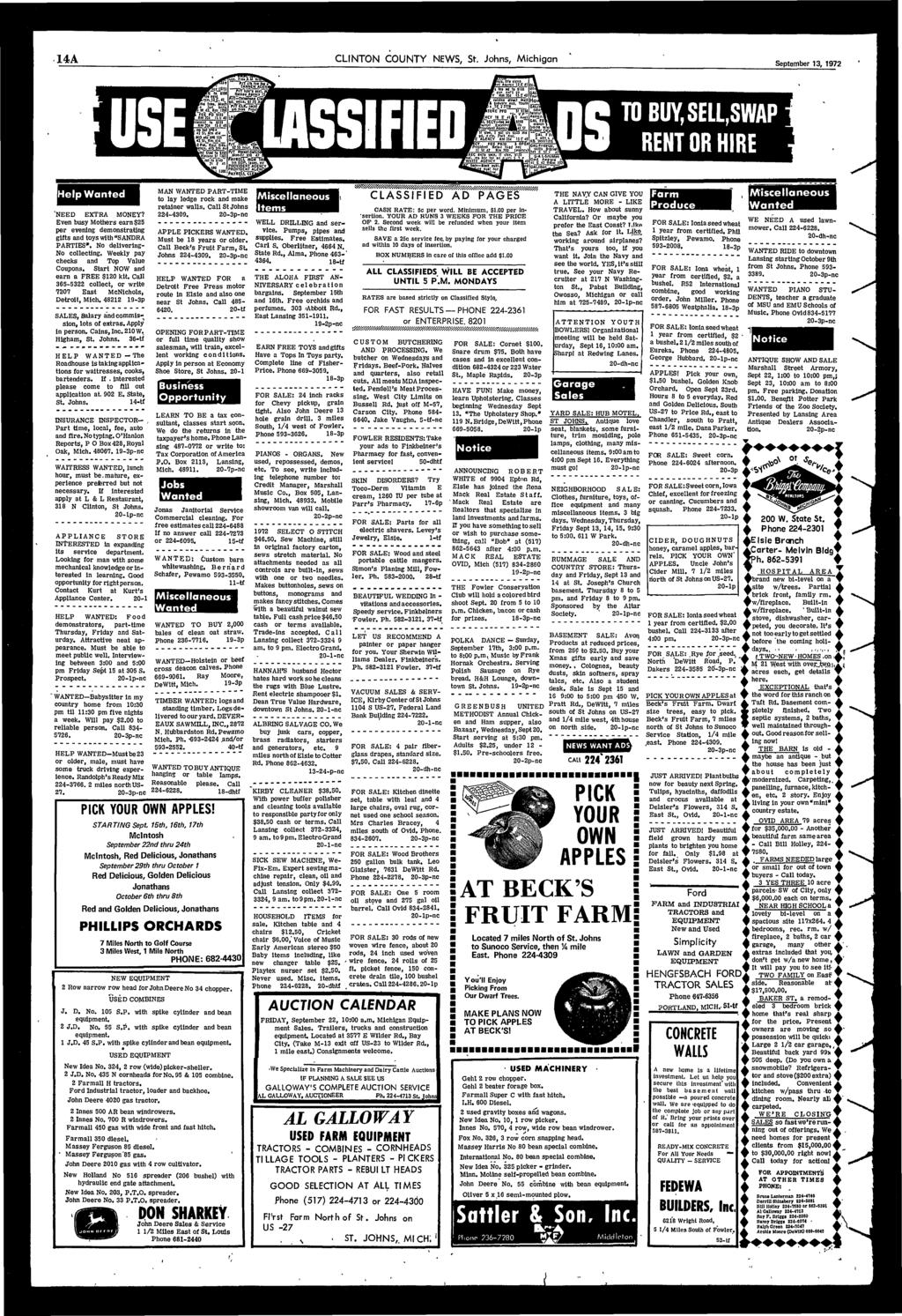 "14A CLINTON COUNTY NEWS, St. Johns, Michigan September 13, 1972 elp Wanted 'NEED EXTRA MONEY? Even busy Mothers earn $25 per evening demonstrating gifts and toys with ""SANDRA PARTIES""."