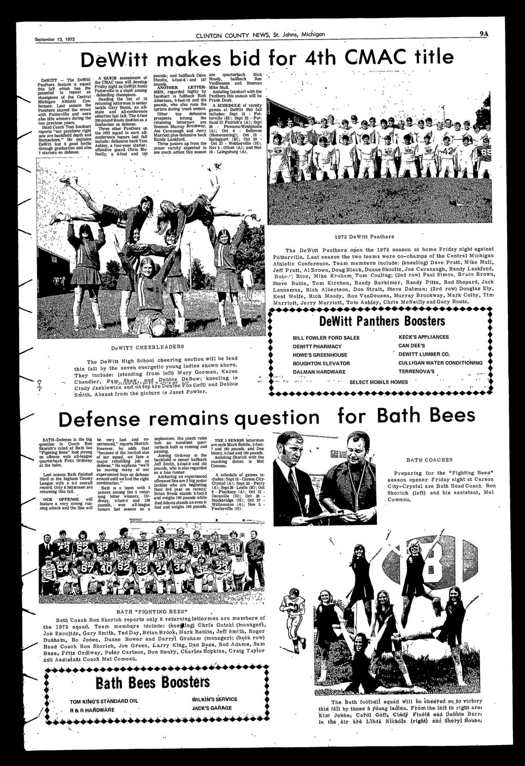 13, 1972 CLINTON COUNTY NE\VS, St Johns, Michigan 9A DeWitt makes bid for 4th CMAC title DeWITT -- The DeWitt Panthers feature a squad this fall which has the potential to repeat as champions of the