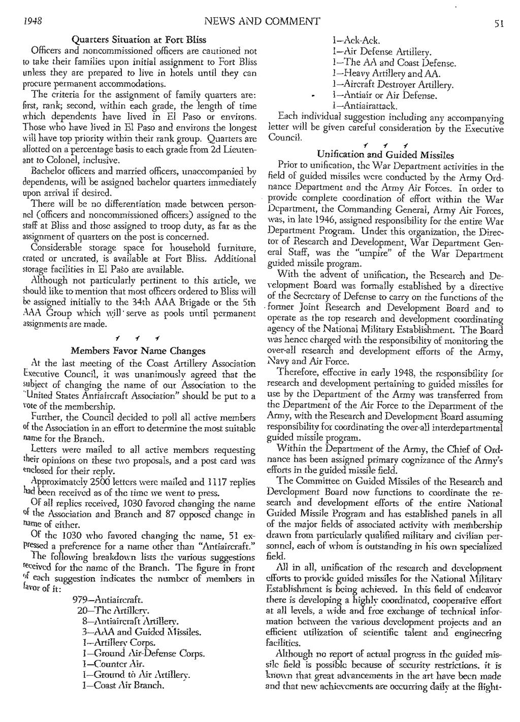 1948 NEWS AND COMMENT 51 Quarters Situation at Fort Bliss Officers and noncommissioned officers are cautioned not to take their families upon initial assignment to Fort Bliss unless they are prepared
