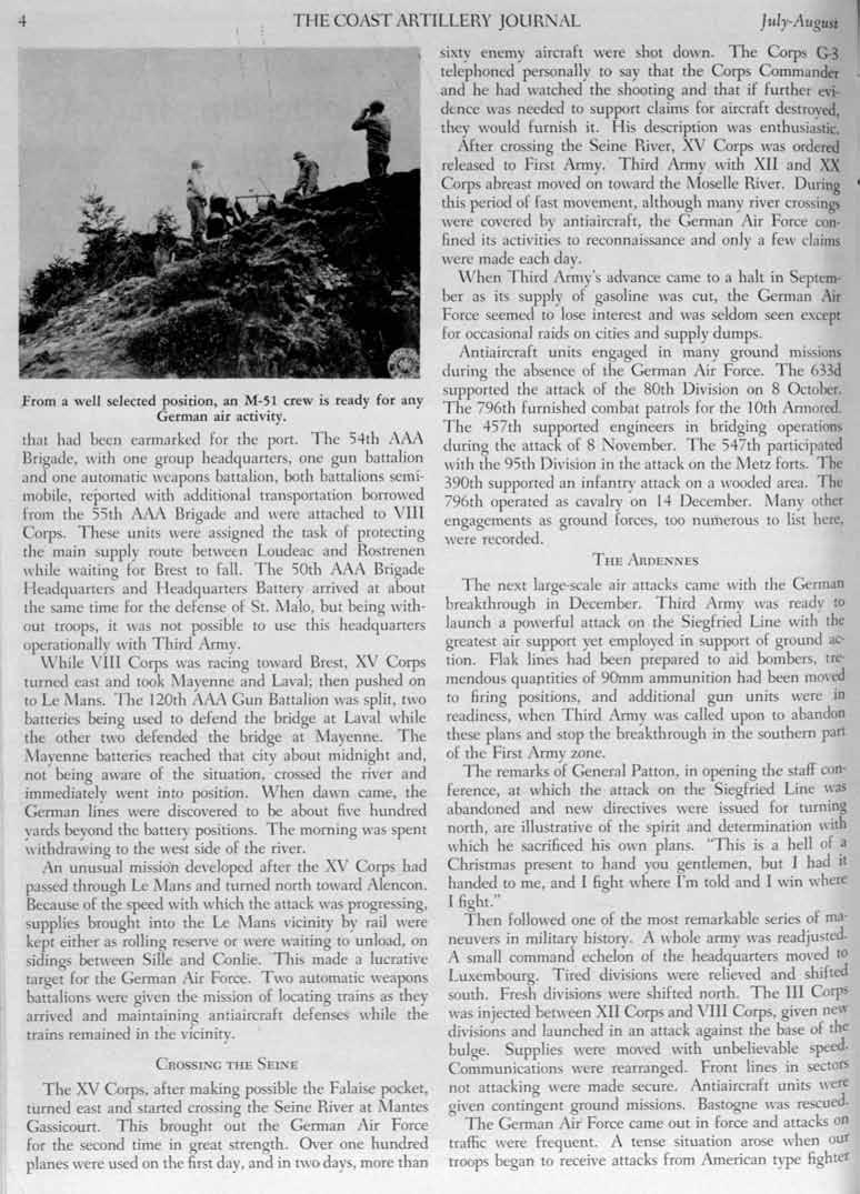 THE COAST ARTILLERY JOURNAL July-August From a well selected position, an M-S1 crew is ready for any German air activity. th;h had been earmarked for the port.