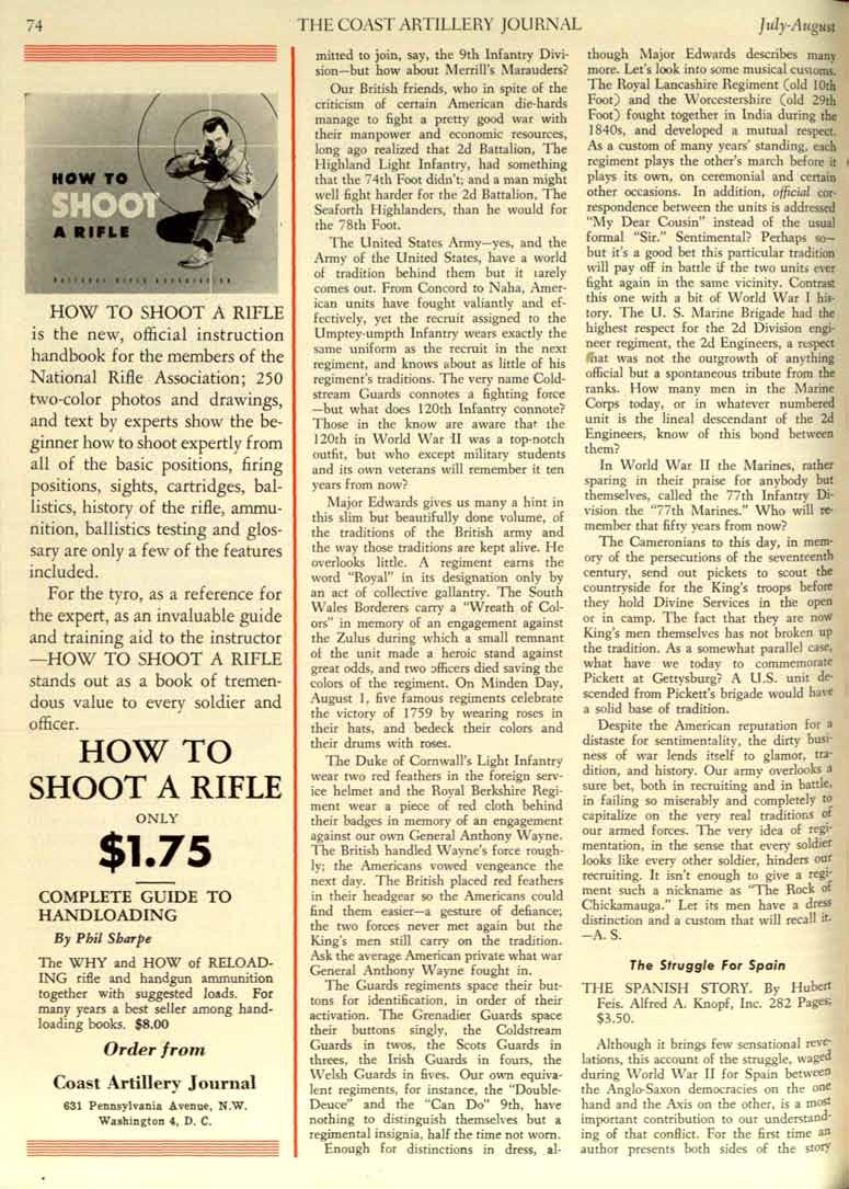 74 THE COAST ARTILLERY JOURNAL JlIly-August HOW TO SHOOT A RIFLE is the new, official instruction handbook for the members of the National Rifle Association; 250 two-color photos and drawings, and