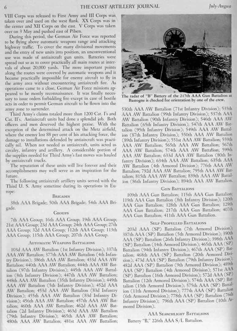 6 THE COAST ARTILLERY JOURNAL J IIly-AIIgllst r VIll Corps was released to First Army and III Corps was taken ovcr and used on the west Hank. XX Corps was in the center and XII Corps on the east.