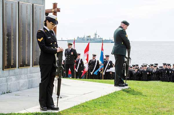 Wreaths were laid, the first one being from the people of Nova Scotia and placed by the Lieutenant Governor, His Honour the Honourable Arthur LeBlanc.