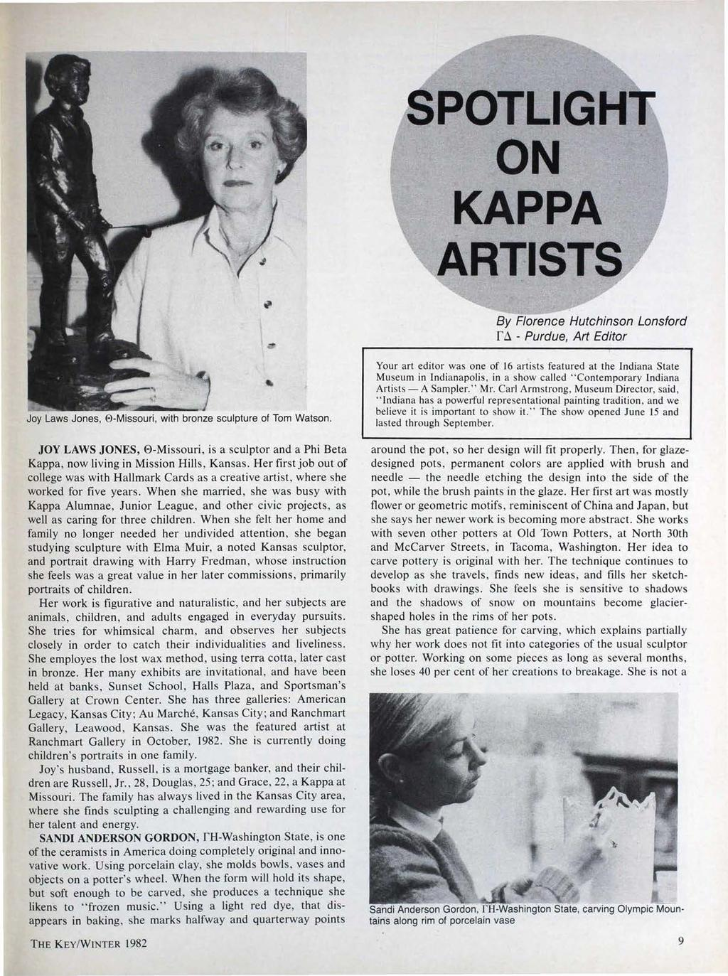 SPOTLIGH ON KAPPA ARTISTS By Florence Hutchinson Lansford f.