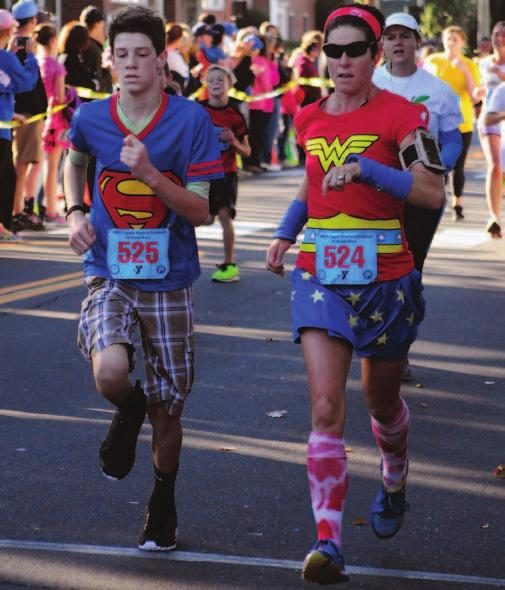 At right, Lizzie Cence and Henry Cence represent Team Kim at the 5K