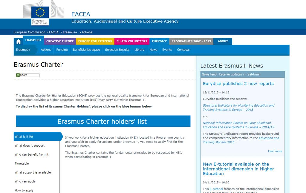 Erasmus Charter in Knowledge Alliances Applications