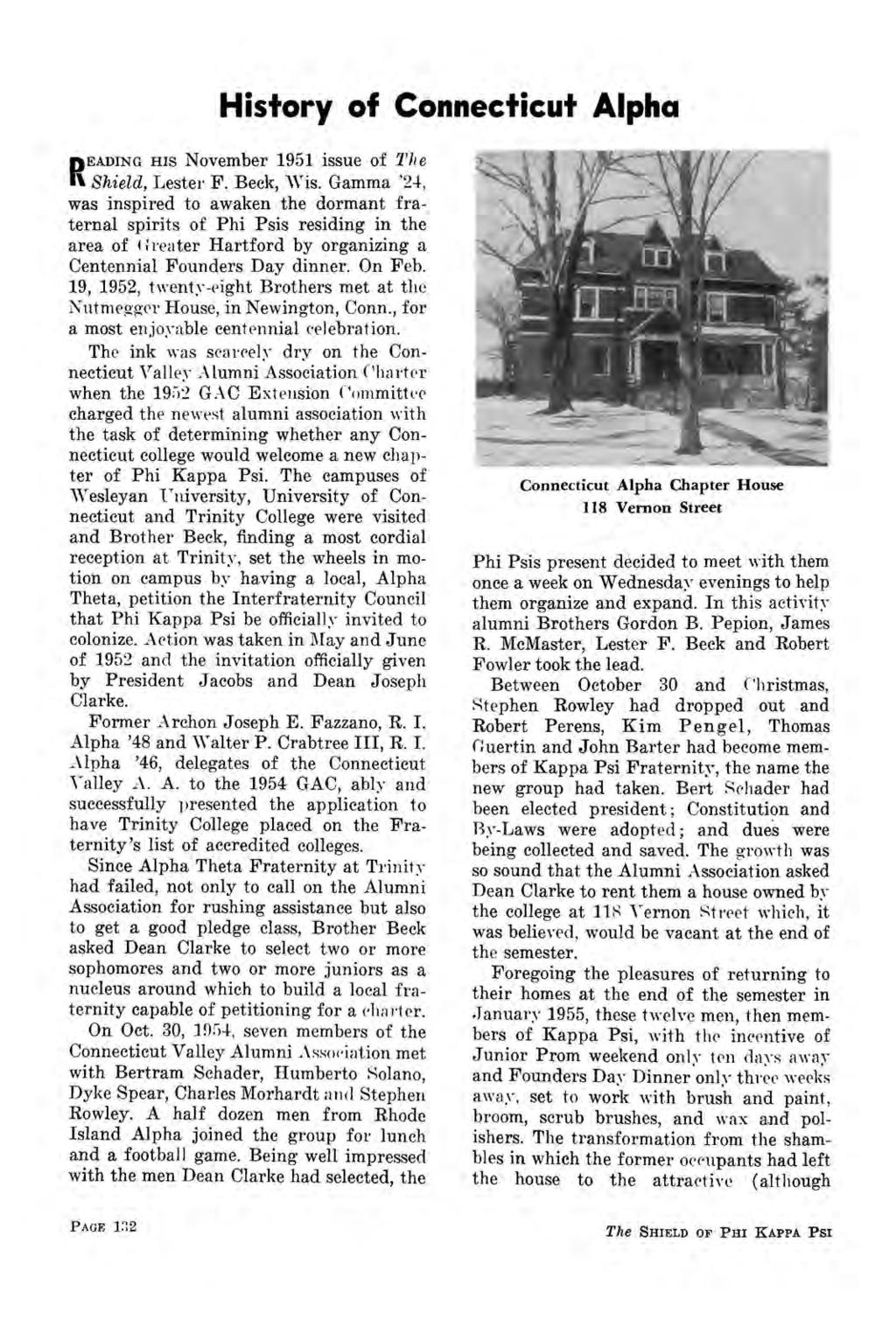 History of Connecticut Alpha EADING HIS November 1951 issue of 27; e R Shield, Lester F. Beck, Wis.