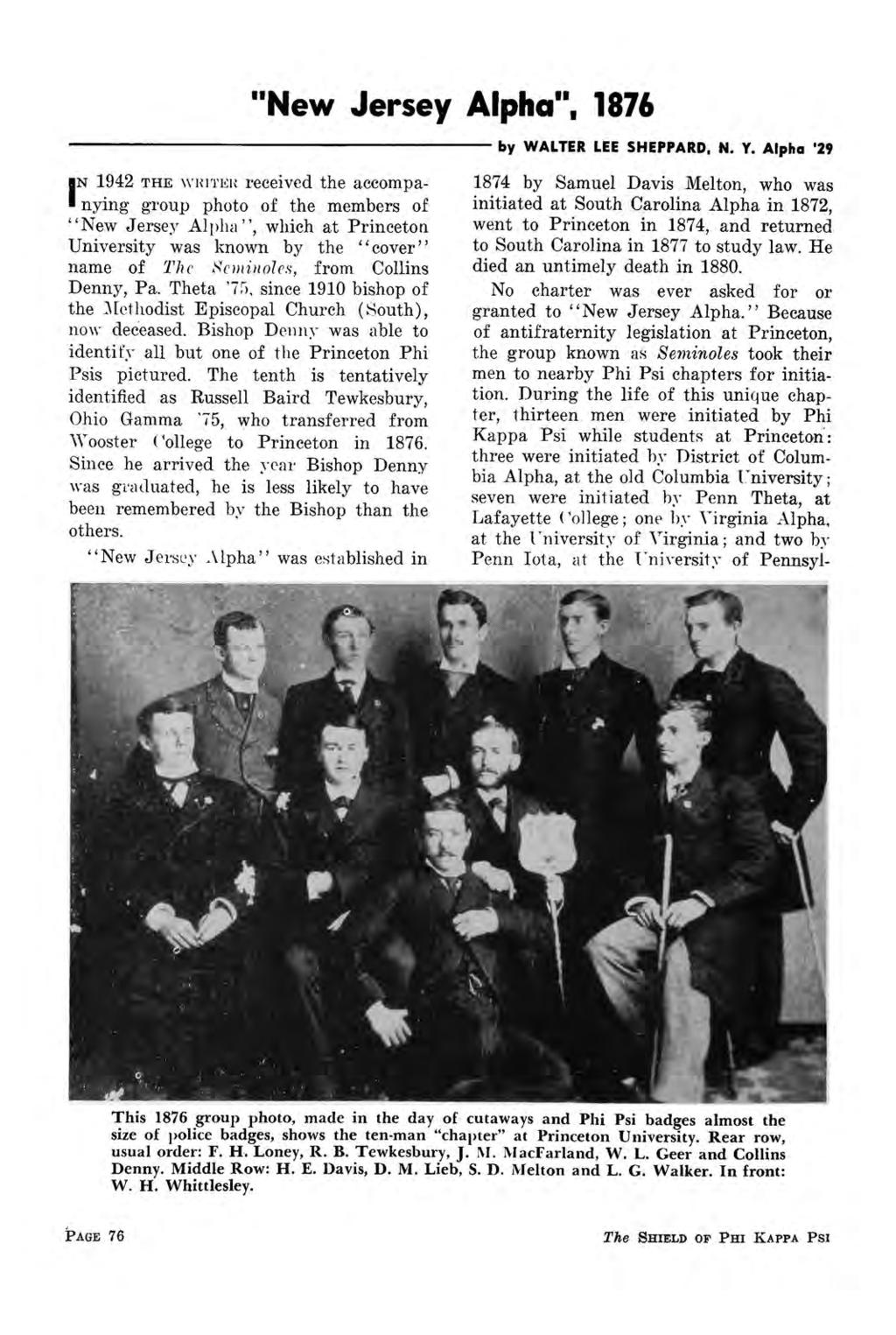 """New Jersey Alpha"", 1876 N 1942 THE WHITER reccivcd the accompanying group photo of the members of I ""New Jersey Alpha"", which at Princeton University was known by the ""cover"" name of The Scminoles,"