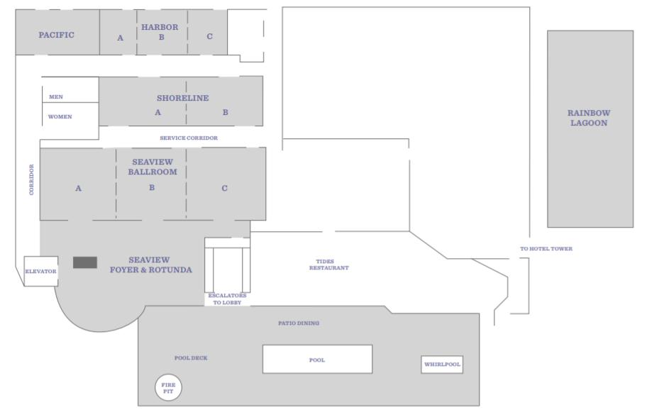Maps for session and reception rooms at the Long Beach Hyatt Regency Lower