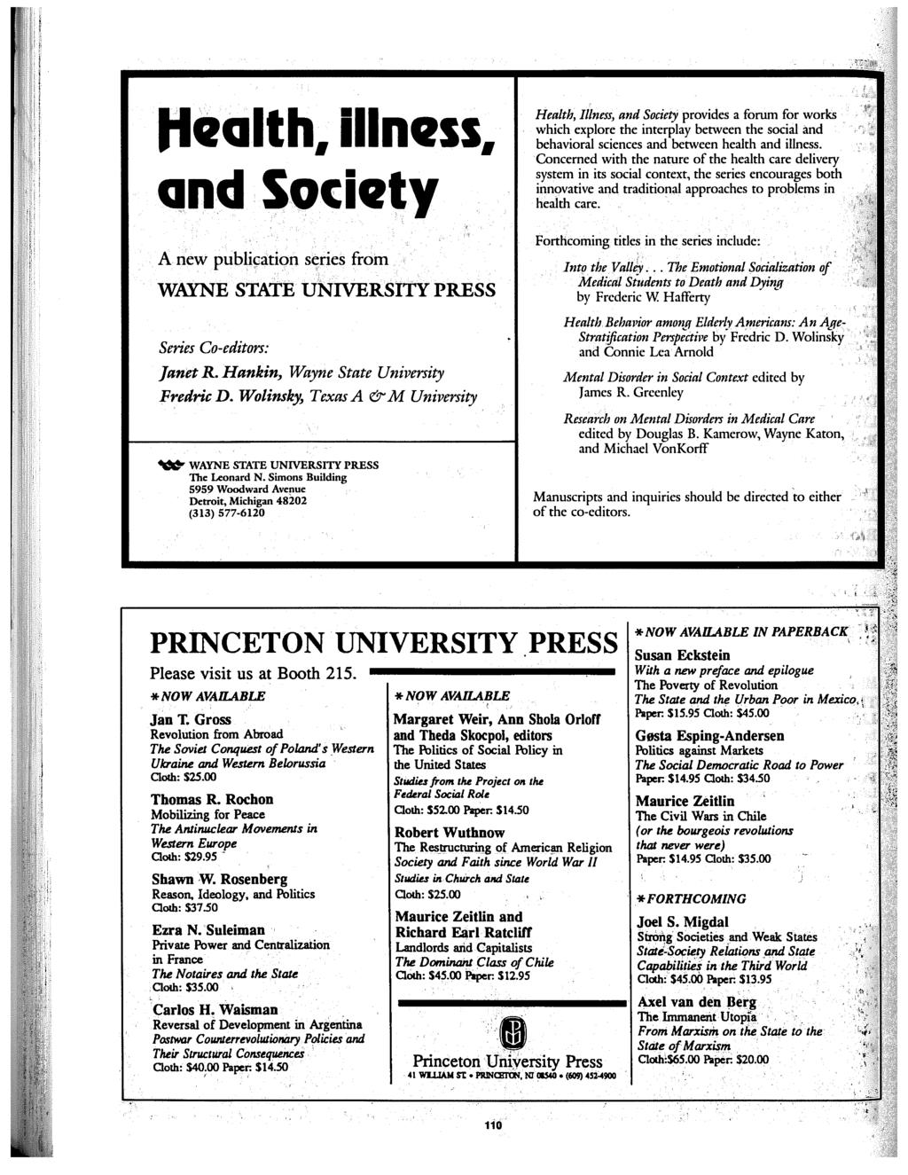 Health. illness. and Society A new publi9ation s<7ries from WAYNE STATE university PRESS Series Co-editors: Janet R. Hankin~ Wayne State University Fredric D.