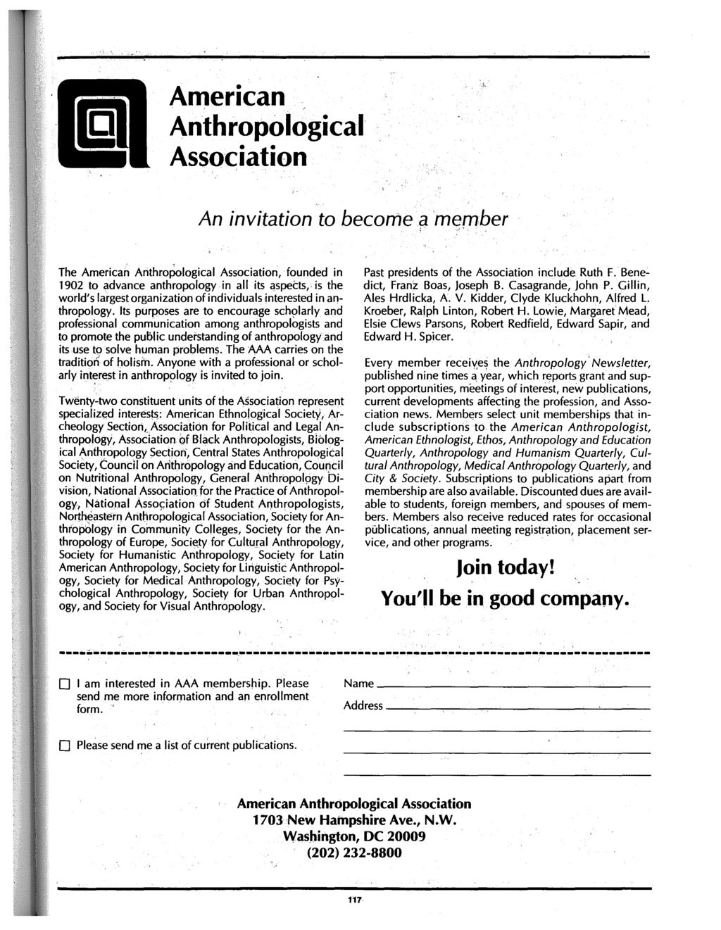 American Anthropological Association An invitation to become a member <~.