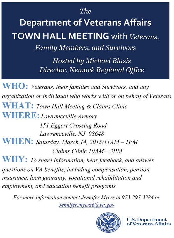 NJDMAVA VETERANS OUTREACH CAMPAIGN A DMAVA VSO will be present at each event to assist any veteran March 14 VA Town Hall Meeting: 11 a.m.