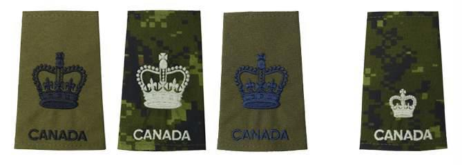 On the slip-on for the Canadian disruptive pattern (CADPAT), the WO rank will be larger and centred while the Maj rank will be smaller and on the lower part of it.