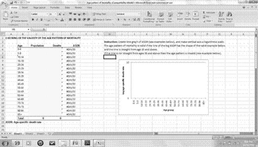 Figure 1 Excel template for checking the validity of the age pattern of mortality Figure 2 Excel template of valid age structure of