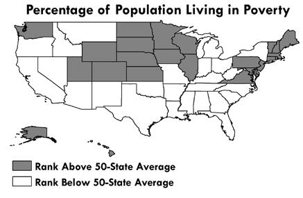 States aspire to a low percentage of population living in poverty. North Carolina ranked 39 th in percentage of population in poverty in 2015 at 16.4%. The 50-state average was 14.2%.