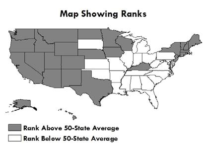 The map shows states ranked above the 50-State Average (according to the table to the left) in gray and states ranked below the 50-State Average in white.