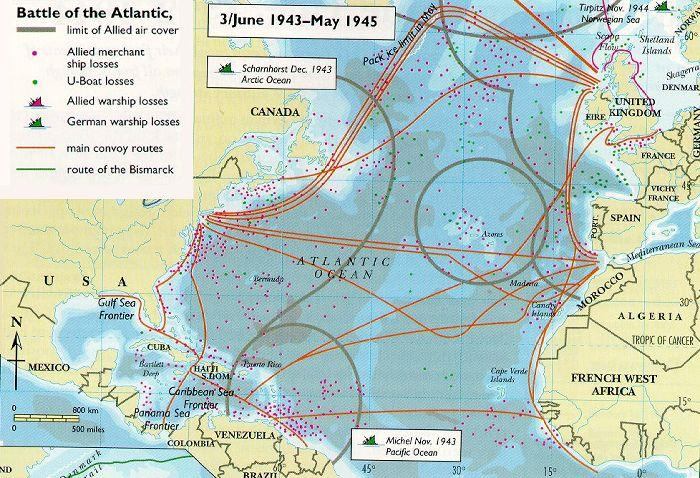 were used to track the U-boats ocean surfaces With this improved tracking, Allies inflicted huge losses on German U-boats ALLIES