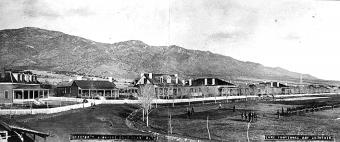 Officer s quarters at Fort Grant, Arizona Territory, in about 1881. Lake Constance and the Fountain are marked on the right. U.S. Army Signal Corps photo. Mrs.