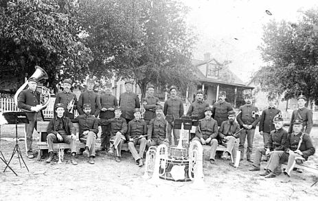 The 15th U.S. Infantry Band at Fort Huachuca between 1897 and 1898. Photo courtesy Mrs. Mabel Boyer McCue, daughter of the Chief Musician of the 15th Infantry Band, John F. Boyer. U.S. Army Lifestyles in the Apache Campaigns: Music Group singing in barracks, around campfires, in the saddle, or in church was always popular among the soldiers.