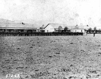 A parade formation at Camp Verde, Arizona, in 1875.