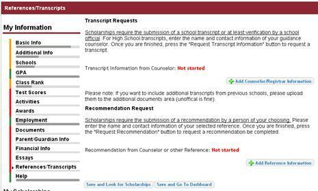 Student Profile: Transcripts & References Click to add your counselor/registrar information to