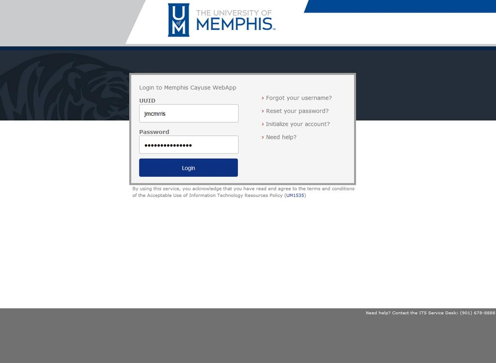 4 Logging Into Cayuse Go to memphis.cayuse424.