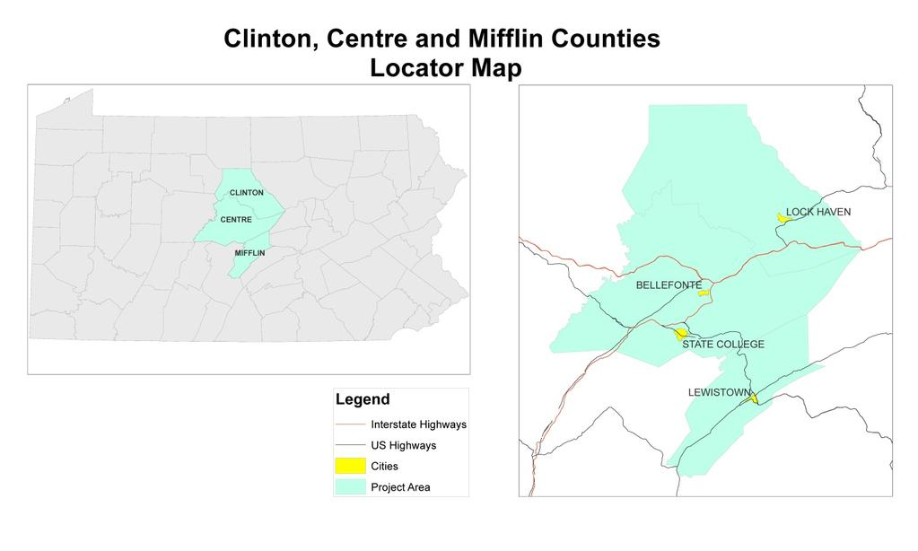 2. GENERAL DESCRIPTION OF PROJECT AREA The pilot project area includes Centre, Clinton and Mifflin Counties. These counties are located in rural Central Pennsylvania.