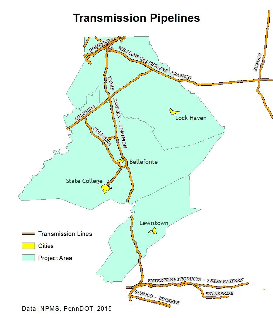 Figure 2-2: Major Natural Gas Transmission Lines - Centre, Clinton, and Mifflin Counties Proximity to interchanges/strategic access areas.