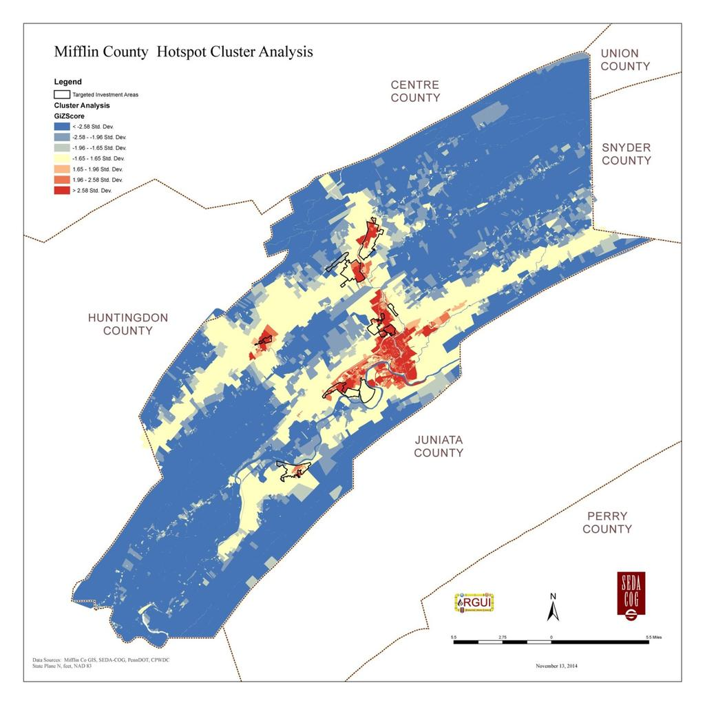 Figure 3-3: Mifflin County Hotspot Cluster Analysis Map 3.1.2.4.