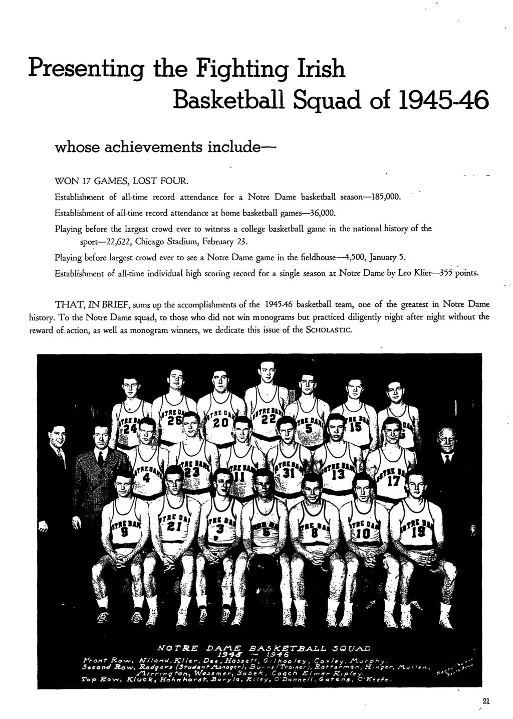 Presenting the Fighting Irish Basketball Squad of 1945-46 whose achievements include- WON 17 GAMES, LOST FOUR. Establishment of all-time record attendance for a Notre Dame basketball season 185,000.