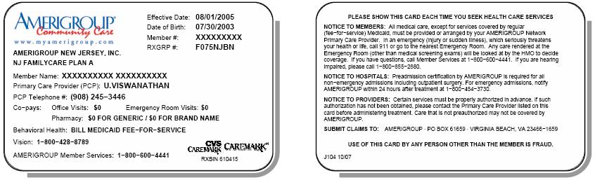 NJ FamilyCare ID Cards The NJ FamilyCare (A, B, C or D) is listed in the upper left-hand corner of the member s ID