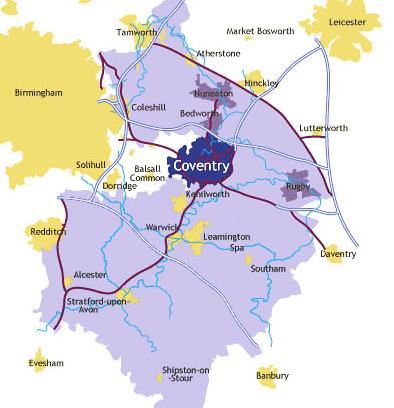 Coventry & Warwickshire Central England in West Midlands region 899,400 residents, 36,000 businesses Coventry: England