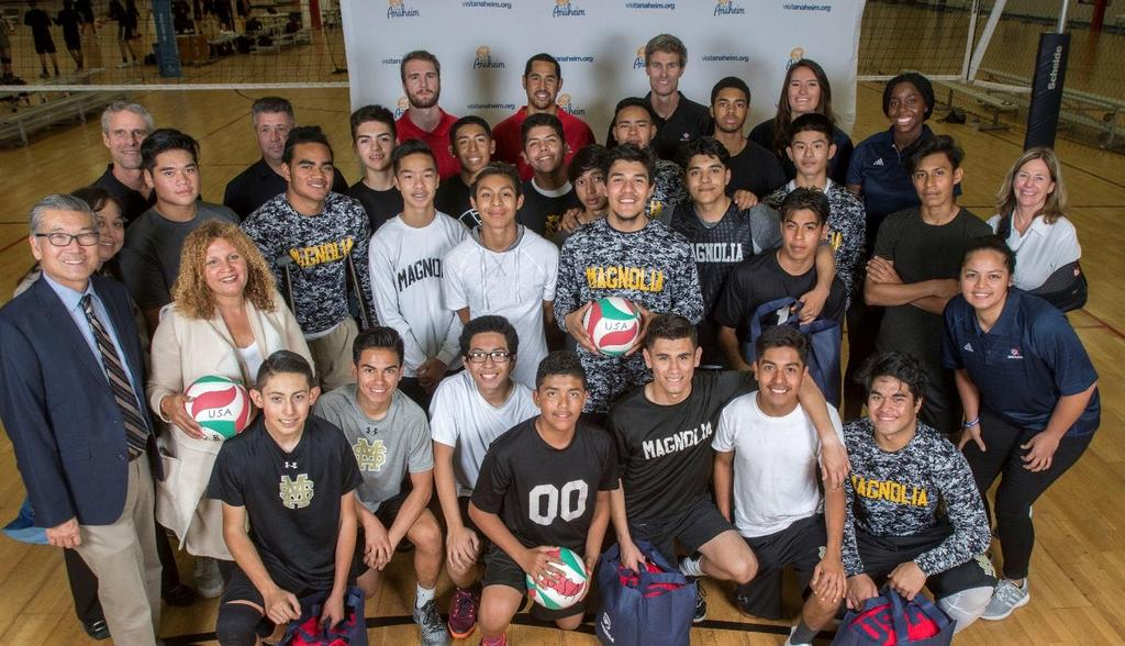USA Volleyball donates equipment to schools Students in the Anaheim Union High School District have brand new gear, after USA Volleyball donated $200,000 worth of volleyball equipment last month.