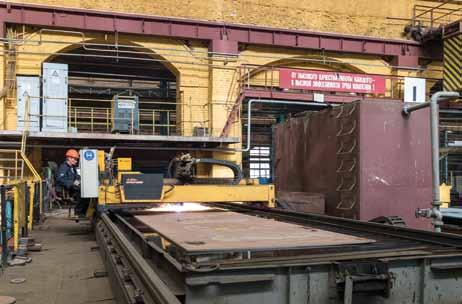 Workshop No.1 at Admiralty is where steel plates arrive and are fashioned into hulls for ships and submarines A plasma cutter in action at Admiralty s Workshop No.