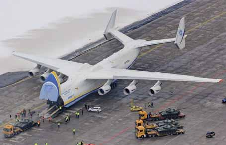 This massive 640 ton, sixengine transport is the world s largest aircraft. Measuring 84 metres in length with a wingspan of over 88 metres, it holds the world record for payload at 250 tons.