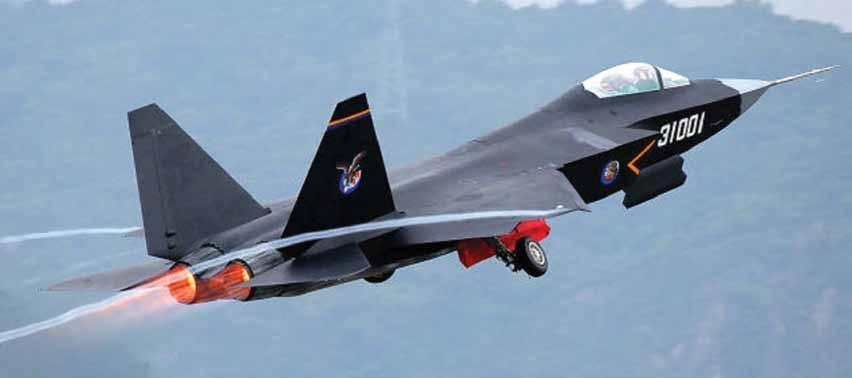 The sleek profile of the J-31 bears striking resemblance to the USAF s F-35 Lightning II Black smoke from the Russian RD-93 engine is very visible during various maneuvers from the J-31.