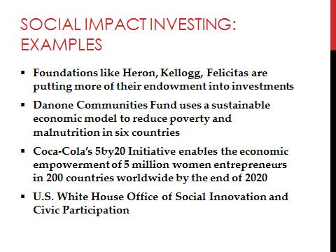 A good example of such an impact investment is the Coca Cola Company s 5by20 Initiative.