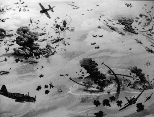 On April 18, 1942, American bombs fell on Tokyo. Launched from the aircraft carrier Hornet, the sixteen B-25 bombers could attack from a greater distance than the carrie -range bombers.