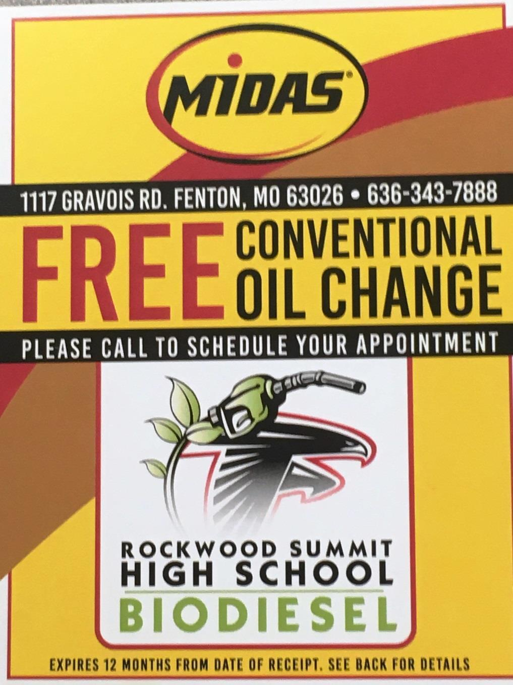 Biodiesel *Midas of Fenton is providing oil change coupons for the Rockwood Summit