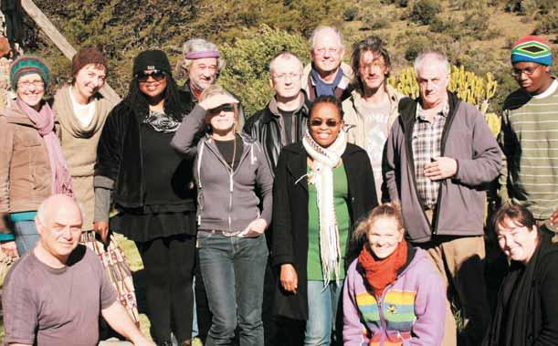 The 2011 MA Creative Writing class and teachers at a farm outside Grahamstown for a free-writing workshop event.