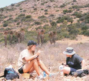 Rhodes University Environmental Science Measuring soil hydraulic conductivity using an infiltrometer in the Baviaanskloof.