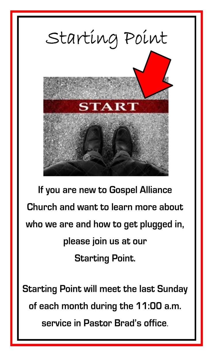 Church, please join us for Starting Point class on the last Sunday