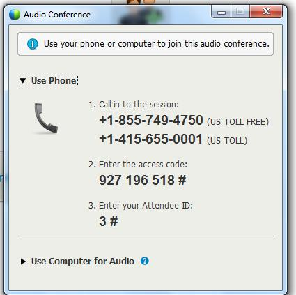 WebEx Quick Reference Dial-in Info: Audio Button 1. Click on Audio Button 2.