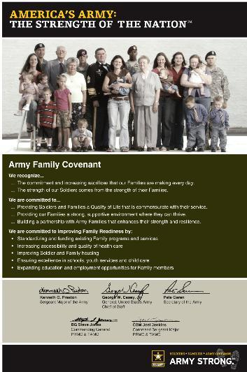 Commitment to the Army 2007 2011 2007 - The Army Family Covenant A means of