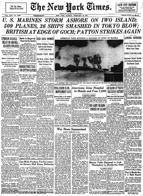 This is the newspaper headline from the day after the Iwo Jima invasion.